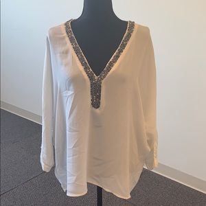 White chiffon top with beading and lace